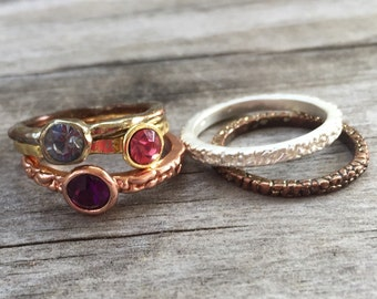FASHION Stack Ring LOT (5) with Glass RHINESTONE Gems Blue, Pink, Purple in Gold, Silver, Copper
