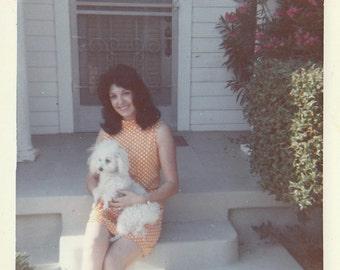 Original Vintage Color Photograph Snapshot Woman & White Poodle Dog 1970