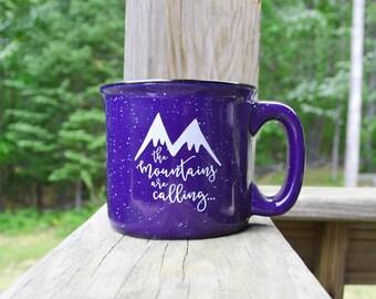 Coffee Mug Camping Mug Stoneware Mug 15oz Mug Ceramic Mug Mountains are Calling Mug Coffee Cup Campfire Mug Cocoa Cup