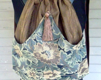 Backpack Floral Tapestry Brown backpack boho backpack renaissance backpack brown tassel rich tapestry