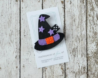 Black Witch Hat Felt Hair Clip - Purple and Orange - Cute Halloween Clippies - Fall and Autumn Felt Hair Bows - Halloween Hairbow for girls