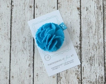 Turquoise Felt Carnation Flower Hair Clip on a Polka Dot Clippie - teal - felt flower hairbow - flower hair bow with non slip grip