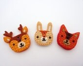3 x Woodland Friends Buttons: Fox, Bunny Rabbit and Deer - Cute Embellishments