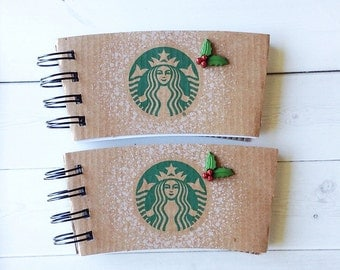 STARBUCKS Christmas Holiday Notbook made with Coffee Sleeves-set of 2