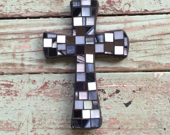 Small mosaic Black and White cross