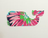 New custom Made To Order Whale Pillow made with Lilly Pulitzer Sippin and Trippin fabric
