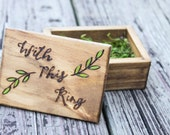 Rustic Woodburned Ring Bearer Box -Birch Forest - Ring Bearer Pillow Box - Wedding Ring Box - With This Ring