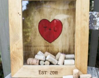 Customized wine cork shadow box - Wedding gift- anniversary gift - wedding shower gift - weddings