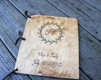 Custom Wedding Guest Book - Monogram Wreath