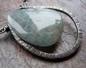 Large Aquamarine Sterling Silver Pendant Necklace on Long Sterling Silver Chain