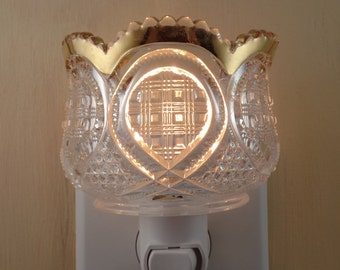 Ornate Clear Glass With Gold Trim And Scalloped Top Custom Made Night Light