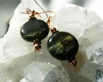 Blue Tiger Eye Earrings, Gemstone Earrings, Copper and Tiger Eye Jewelry, Copper and Gemstone Earrings, Blue Gemstone Jewelry, Women Gift