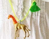 Giraffe Necklace Neon Jewelry Girls Tiger Necklace Tassel Necklace Plastic Animal Charm by The Trendy Tot
