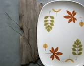 RESERVED for L ... Vintage Poppytrail Serving Platter Meat Tray Indian Summer Pattern Fall Dining Autumn Leaves Mid Century  Metlox China