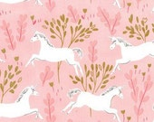 QUILTING COTTON: Michael Miller Unicorn Forest in Blossom With Metallic - 1 Yard