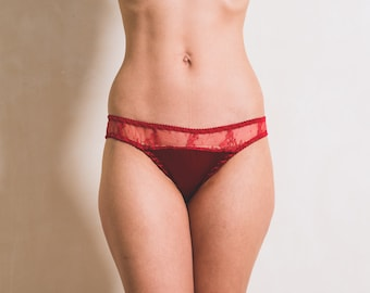 Red Poppy Silk and Chantilly Lace Panty Lingerie / Brief / Underwear Made to Order