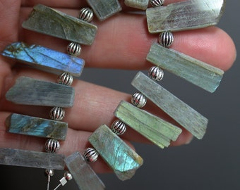 Blue Labradorite Beads - Plate Set of 13 - Labradorite Beads - Blue and Yellow