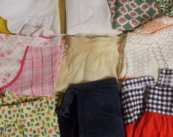 Vintage lot of homemade half aprons shorter variety crocheted sheer hand stitched