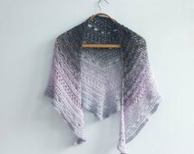 Crochet Lace Triangle Scarf, Lace Shawl,   Evening Shawl, Evening Wrap,   Gray Violet Purple Wrap Shawl, Color Block, Ready to Ship
