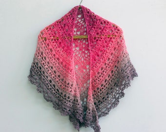 Crochet Lace Shawl,  Evening Shawl, Evening Wrap,  Autumn Shawl, Pink Purple Wrap Shawl, Color Block, Ready to Ship