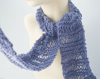 Cotton Scarf, Hand Knit Scarf, Autumn Scarf, Evening Scarf,  Lace Scarf, Custom - Chose Color, Long Fashion Scarf, All Season