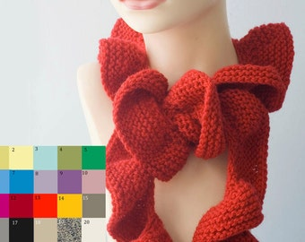 Knit Ruffle Scarf, Custom Chose Color, Vegan Ruffled Scarf, Winter Scarf