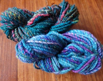 Wee Smidges handspun mini skeins in merino with sparkle and locks, 20 and 18 yards each