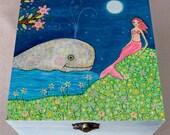 Mermaid Painting Large Jewelry Box, Folk Art Mermaid Trinket Box
