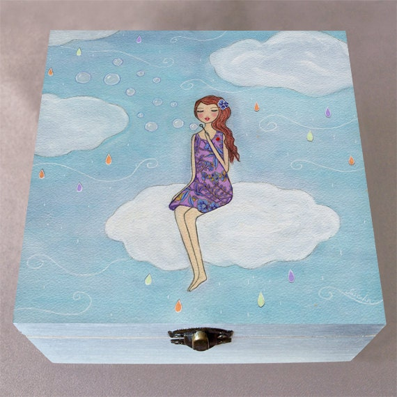 Large wooden jewelry box trinket box girl blowing bubbles on for Girls large jewelry box