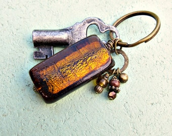 Brass Keyring with Brown Glass Accent: Toffee Candy
