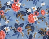 Cotton + Steel Les Fleurs Birch in Periwinkle - Half Yard
