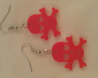 Red Skull and Crossbones Earrings
