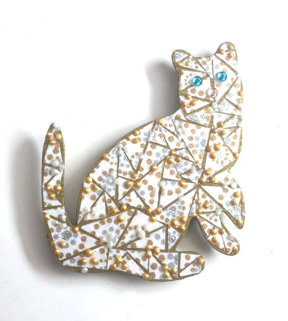 Mixed Media Cat Magnet, Blue Eyed Cat Magnet, Polka Dot Cat Magnet, Paper Mosaic Cat Magnet, Gold Blue White Cat Magnet, Cat with Blue Eyes