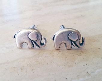 Silver Elephant Cufflinks, White Gold Plated Cufflinks, Little Silver Elephants, Good Luck Elephant