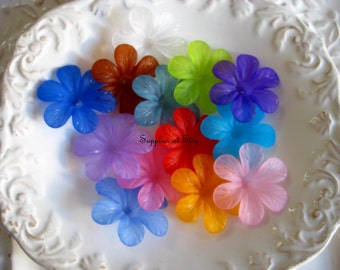 Lucite MULTICOLORED 3d Lucite Flowers 30mm Center Piece-Sample pack Lucite daisy Flower Beads - Large  Lucite flowers-Center piece