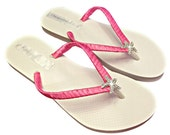 Hot Pink Flip Flops - Bridesmaid Flip Flops - Star fish Flip Flops -  Hot Pink Wedding - Beach Wedding Sandals -  Bridesmaid Gift
