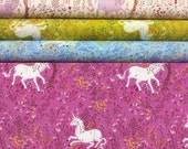 Quilting cotton Unicorn HR9657 - Far Far Away by Heather Ross, fat quarter bundle of 4