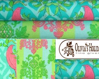 Cotton fabric Olivia's Holiday by Tina Givens- 1/2 yard set of 2