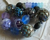 Purple Blue Blooms Encasement Florals Handmade Lampwork Glass Beads SRA