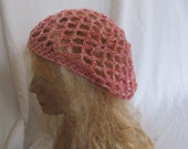 SALE - Pink and Red Lacey Slouchy Beret/Tam/Dreadlock Hat (5264)