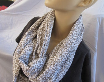 Brown Floral Hidden Zipper Pocket Cowl/Circle Scarf/Infinity Scarf (5545)
