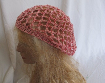 Pink and Red Lacey Slouchy Beret/Tam/Dreadlock Hat (5264)
