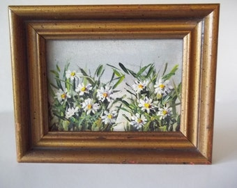 Daisy Oil Painting on Masonite Board, Signed, Miniature/Small Framed Original Vintage Floral Art