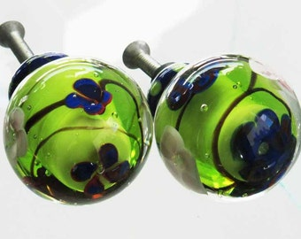 2 Handmade Venetian Glass Cabinet Knobs for Furniture, Kitchen and Baths, Green, Blue Venetian Glass 2 piece Knobs Lampwork Glass
