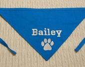 Personalized Dog Bandana with Paw Print sizes S to XL in tie style