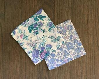 Set of 2 Vintage Liberty of London Floral Handkerchiefs Pocket Squares