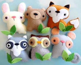 Felt Woodland Animal Set Sewing Pattern - Tutorial - PDF ePATTERN - Raccoon, Fox, Bear, Bunny, Mouse & Owl