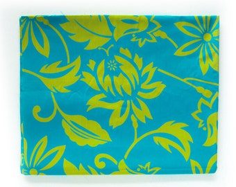 Vintage Tropical Print Cotton Fabric - Aloha Print in Bright Cyan / Teal and Chartreuse