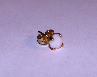 White Australian Opal Single Stud Earring