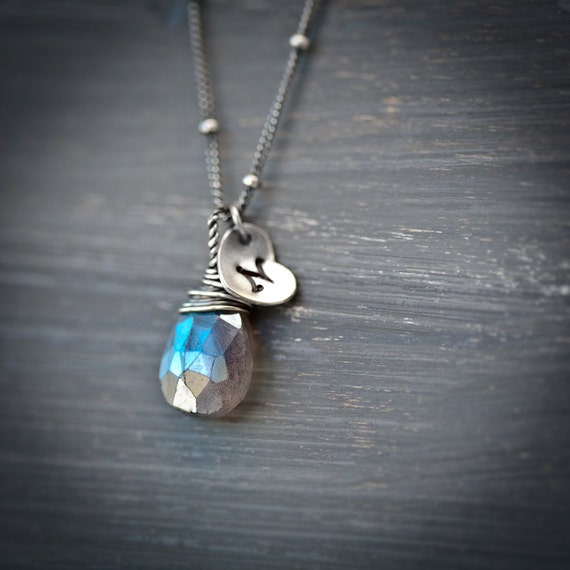 Heart Initial Labradorite Sterling Silver Mecklace